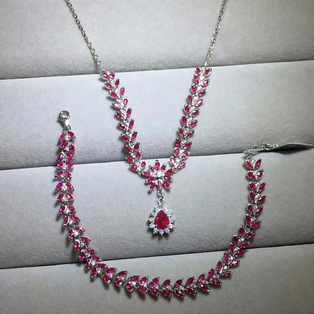بدلة روبي الطبيعية ، النمط الكلاسيكي ، 925 الفضة الاسترليني ، قلادة سوار ، مجوهرات فاخرة