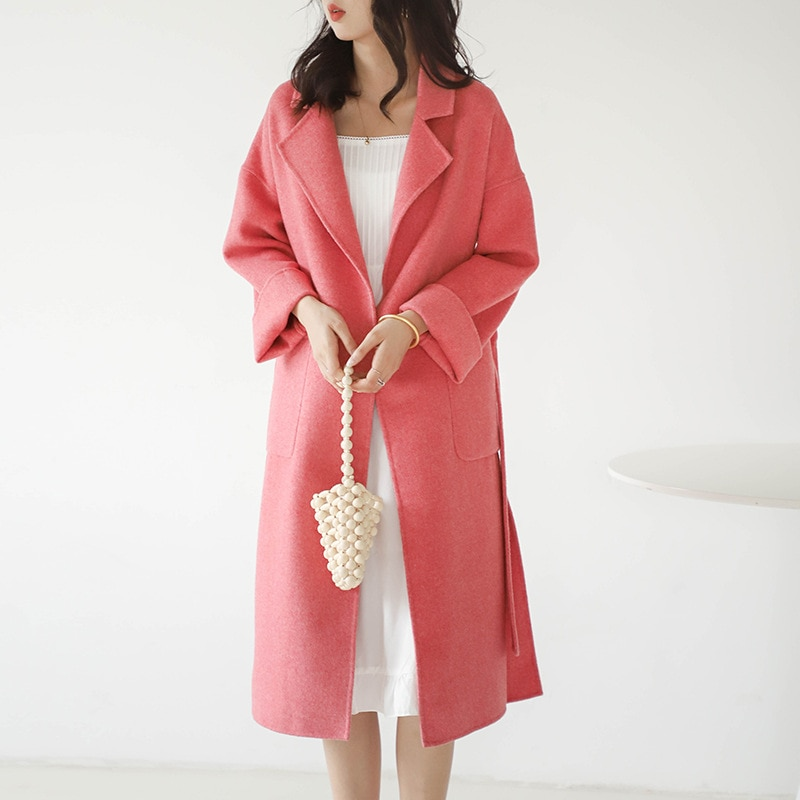 Зимнее высококачественное женское кашемировое двустороннее шерстяное однотонное ярсветильник длинное приталенное модное пальто для зрел...