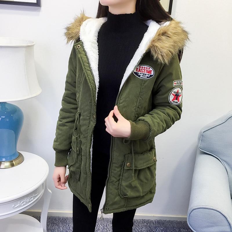 Leiouna, Parka verde militar holgada gruesa de piel, chaquetas para mujer, moda 2020, abrigos con capucha, ropa larga de Invierno para mujer