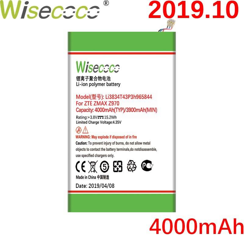 Wisecoco Li3834T43P3h965844 4000mAh para ZTE ZMAX Z970 Grand Memo N5L LTE/N5/N5S/N9520/U5/U5S/U969/U9815/V9815