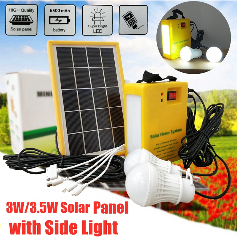 Solar Power Panel Generator Home System Kit With 3 LED Bulbs Solar Lamp Emergency Light 4 Heads USB Charging for Outdoor Garden