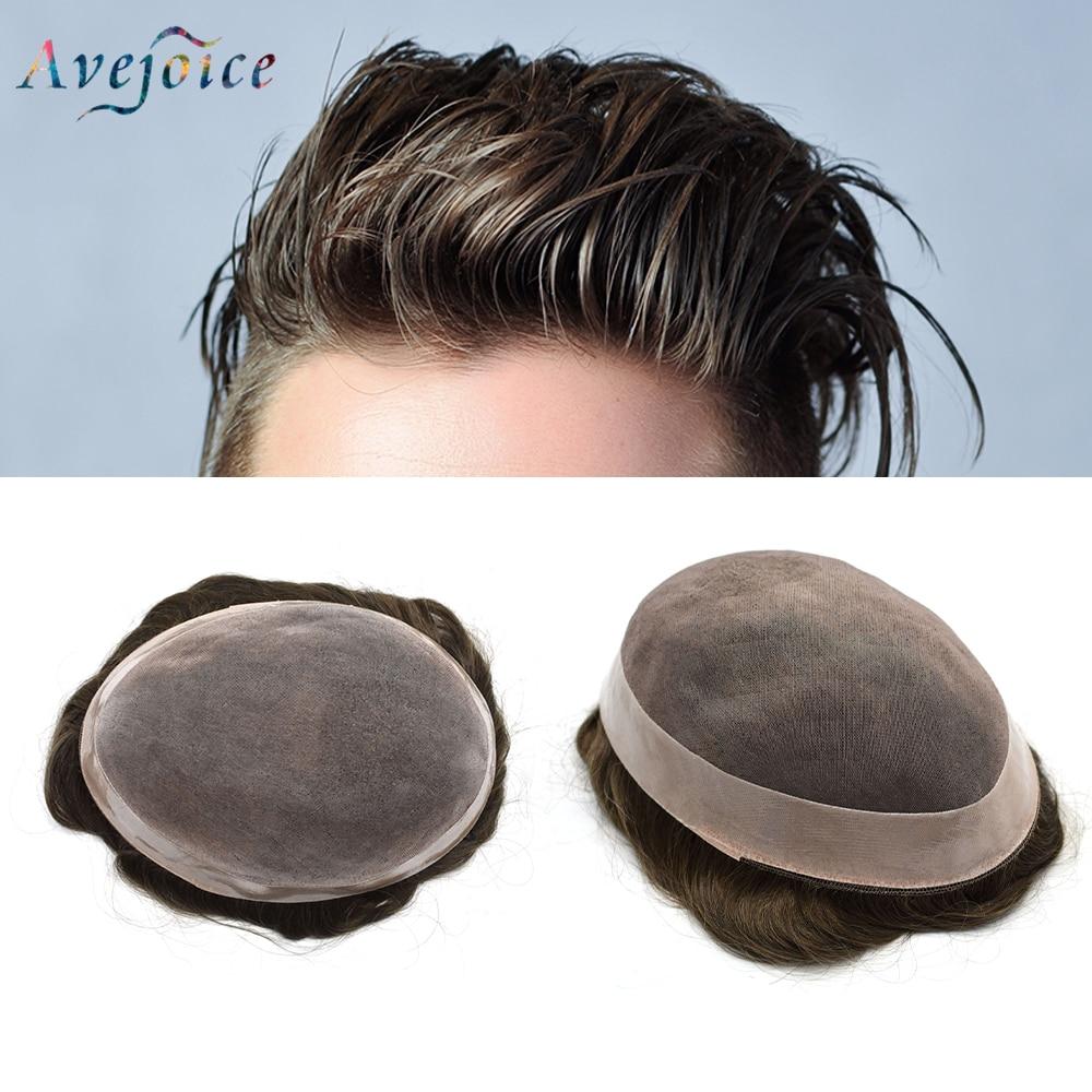 Avejoice Männer Toupet Durable Haarteile MONO & NPU Indisches Remy Menschenhaar System Für Männer Natürliche Gerade Haar Ersatz