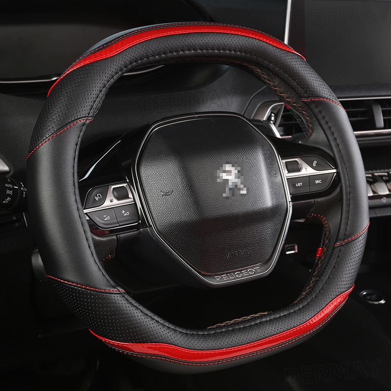 for Peugeot 2008 2019 2020 e2008 2020 Car Steering Wheel Cover Carbon Fibre + PU Leather Auto Accessories interior Coche