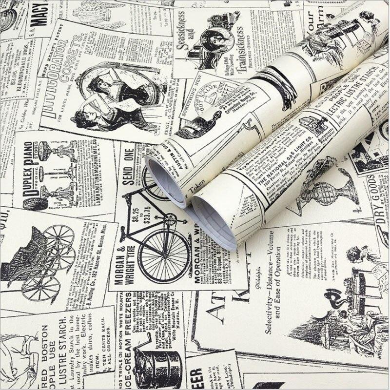 Новостная бумага, самоклеящаяся настенная бумага, декоративная настенная бумага в стиле ретро, печатная бумага, легко наносится, шелушиваю...