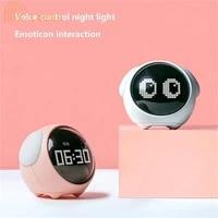 creative alarm clock intelligent voice control night light alarm adjustable ring tone childrens wake up light table clock