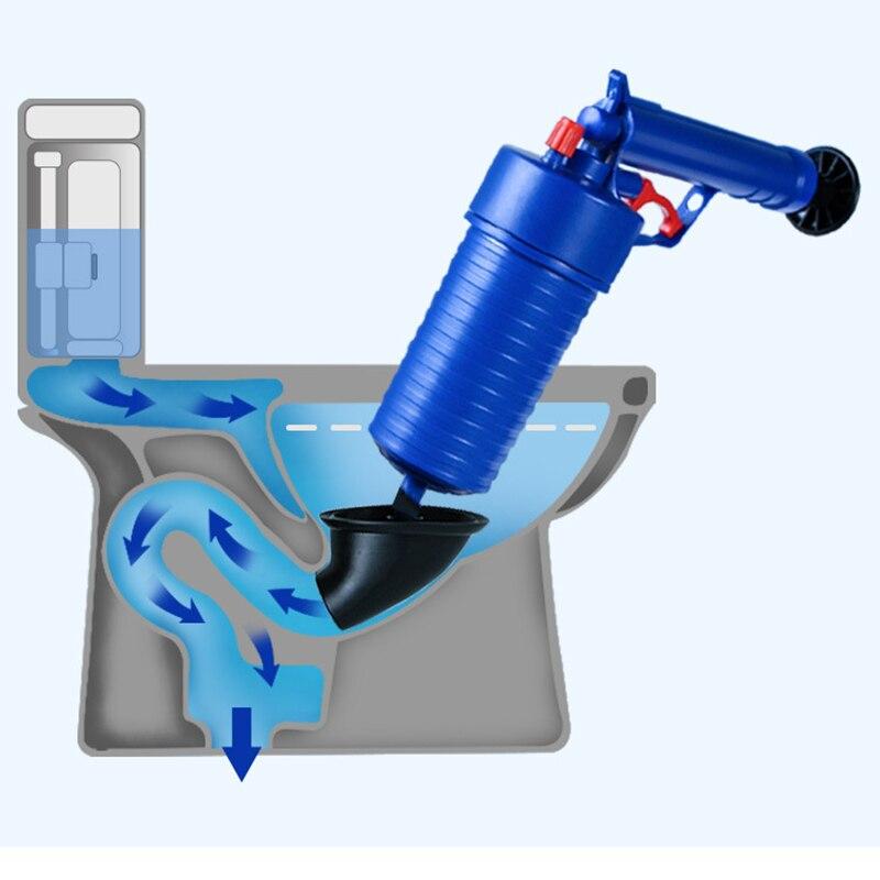 Set de limpiador de drenaje de presión de aire, cepillo para limpieza de alcantarilla, cocina, baño, inodoro, draga, émbolo, cuenca, tubería, herramienta de extracción obstruida