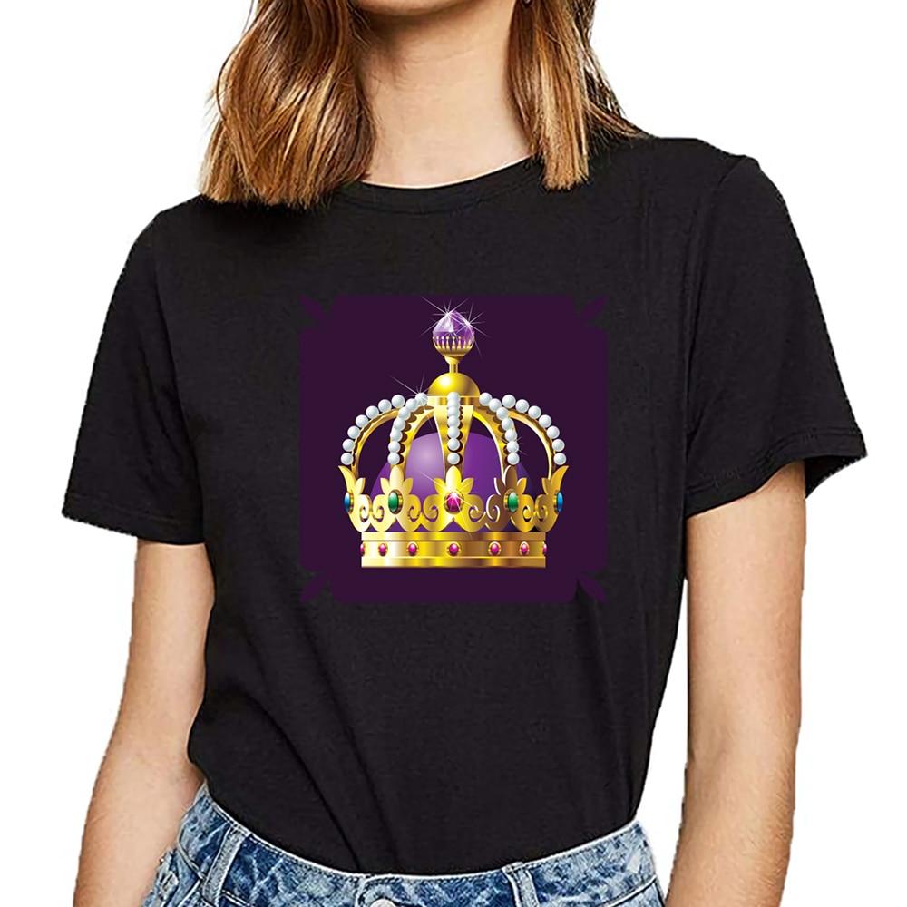 Camiseta superior mujeres coronas real Rey reina básica negra personalizada camiseta femenina