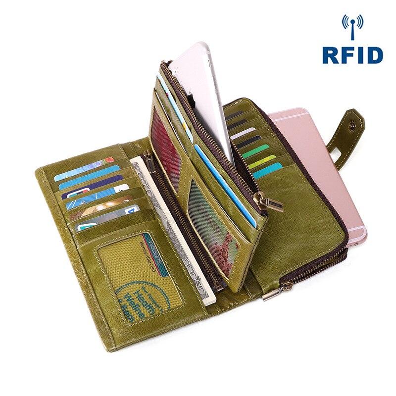 Cartera larga RFID para mujer, cartera informal de alta calidad, bolso de cuero genuino para mujer, bolso de día Retro, tarjetero, funda suave para teléfono