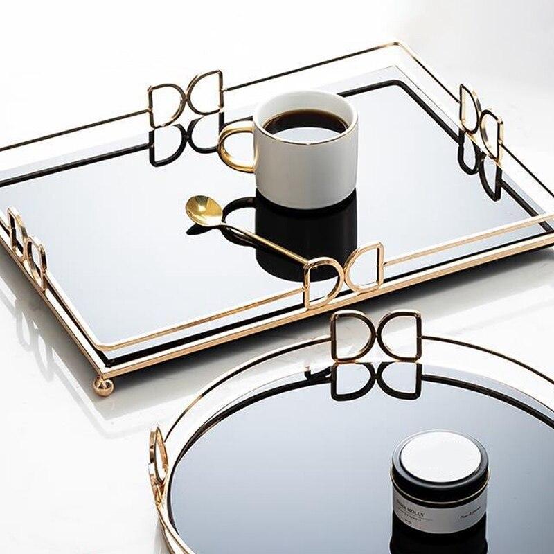 جديد إطار مرآة الذهب ، زجاج مجوهرات التجميل درج منظم صينية مزخرفة لتخزين العطور ، حلية
