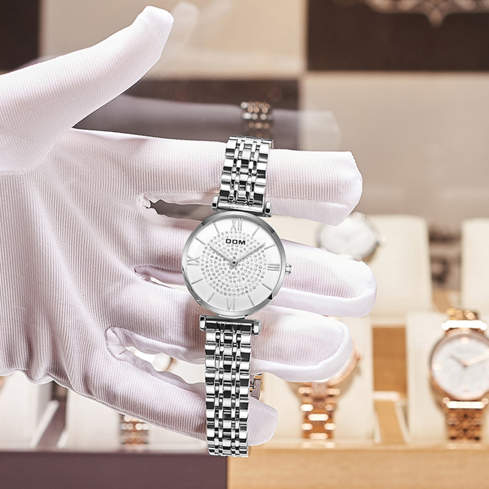 DOM ladies watch fashion luxury trend full diamond leisure waterproof swimming stainless steel strap female watch G-1342 enlarge