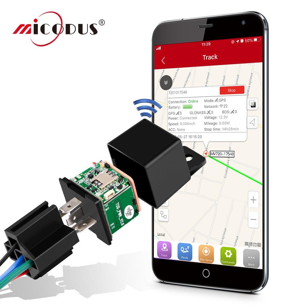 Mini GPS Tracker Car Tracker Micodus MV720 Relay Hidden Design Cut Off Fuel Car GPS Locator 9-90V 80mAh Vibrate Alert Free APP