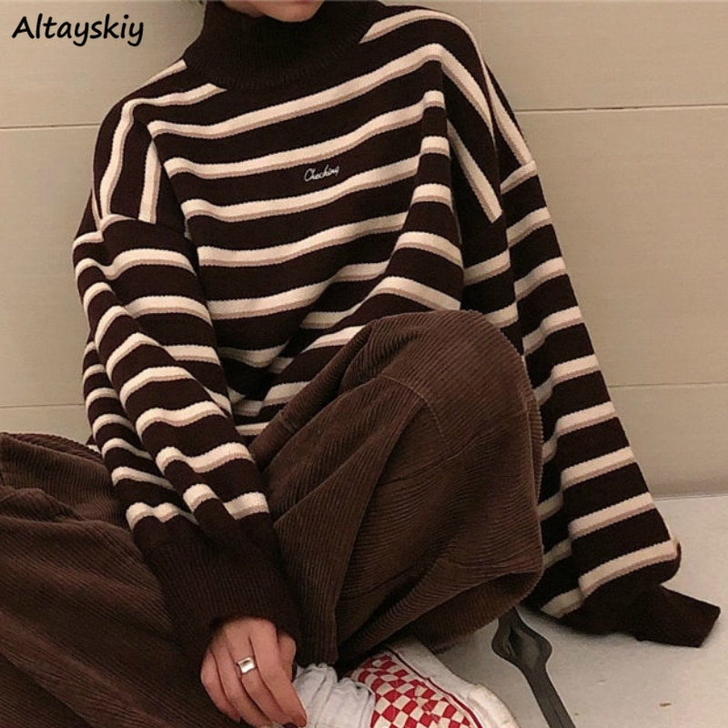 Turtelneck Sweater Women New Simple Striped Spring Winter Ulzzang Fashion Womens Student Harajuku Soft Chic Lady Jumpers