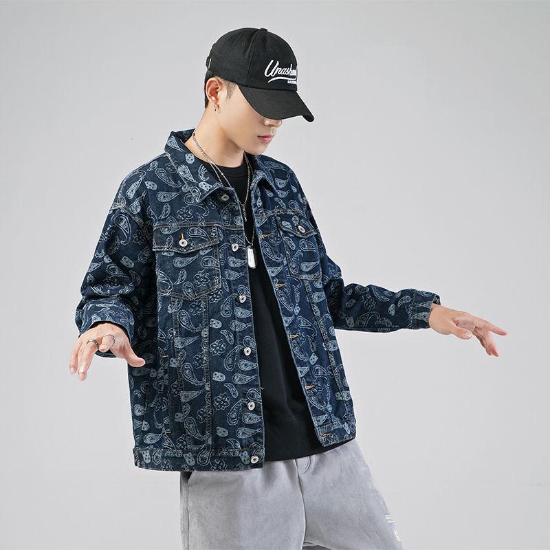 Фото - Джинсовая куртка мужская с узором, уличная одежда в стиле хип-хоп, Джинсовая Верхняя одежда, весна-осень 2021 scout джинсовая верхняя одежда