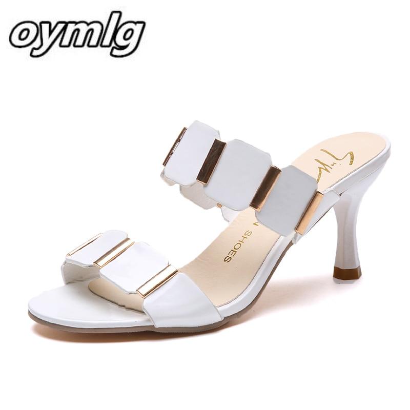 Couro de Patente Verão Saltos Stiletto Sólida Boca Rasa Lantejoulas Metal Decorativo Altos Definir pé Único Sapatos 2021 Cor