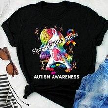 Autism Awareness Unicorn Tshirt Women Black M - 3Xl Wholesale Tee Shirt