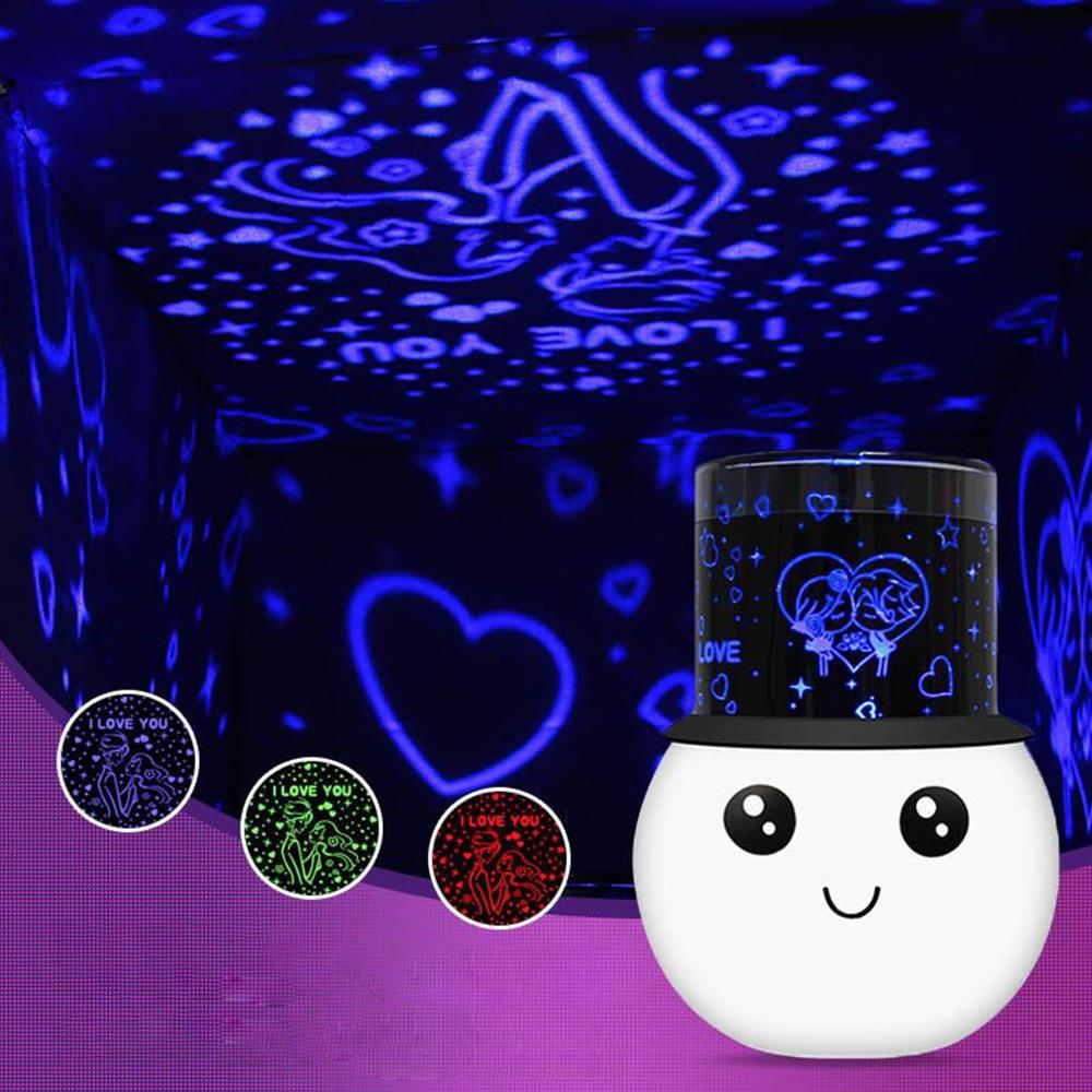 Lámpara LED de colores para habitación romántica, luz de noche parpadeante, Luna...