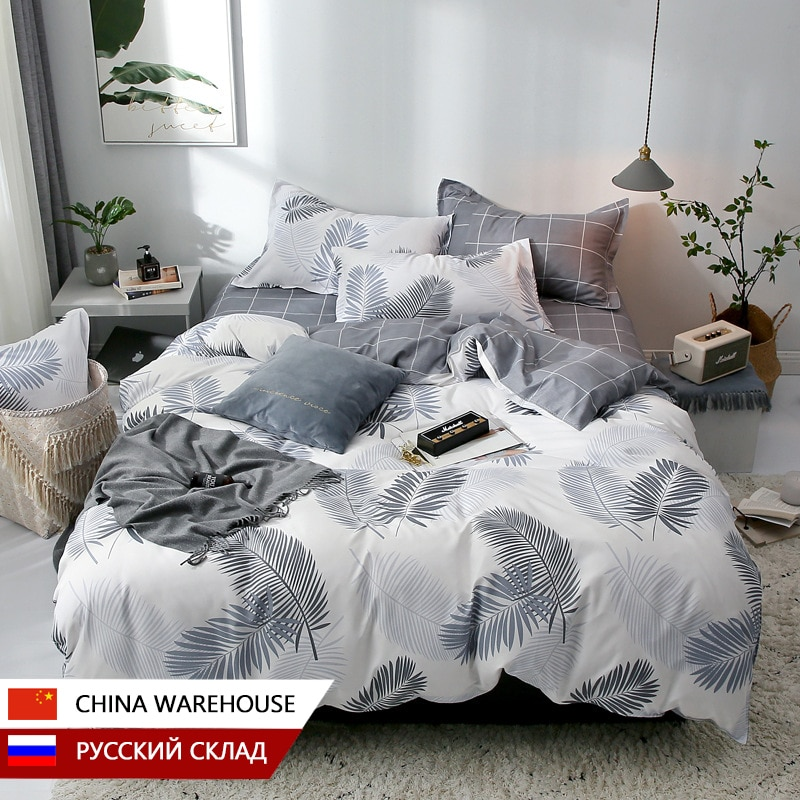 Simple Printed Bed Linen Sheet Bedding Set With Pillowcase Duvet Cover Sets Single Double Queen King Size Quilt Covers Linens geometric print bedding set black stripe king size duvet cover sets single double full queen bed linens quilt covers bedclothes