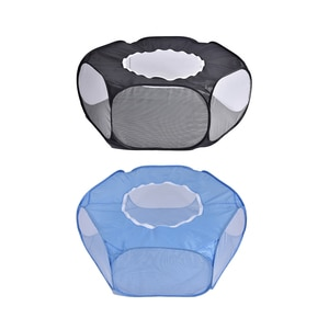 Small Animal Playpen Foldable Pet Cage with Top Cover Anti Escape Breathable Indoor Outdoor Yard Fence for Kitten Puppy Guinea P