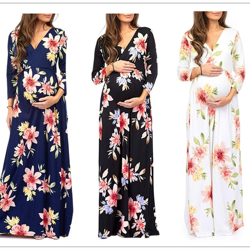Kyle Keith Maternity 3/4 Sleeve Ruched Maternity Dress W/Empire Waist for Baby Showers Pregnancy Casual Wear enlarge