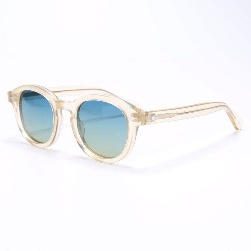 Vintage redondo polarizadas para hombres, gafas de LEMTOSH Johnny Depp importados acetato de gafas de sol de mujer gafas de prescripción gafas