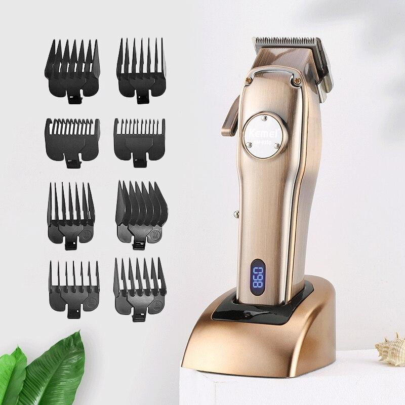 Kemei جميع المعادن الكهربائية مقص الشعر القاطع الكربون الصلب المهنية قابلة للشحن الشعر المتقلب آلة حلاقة عدة KM-9350 F40