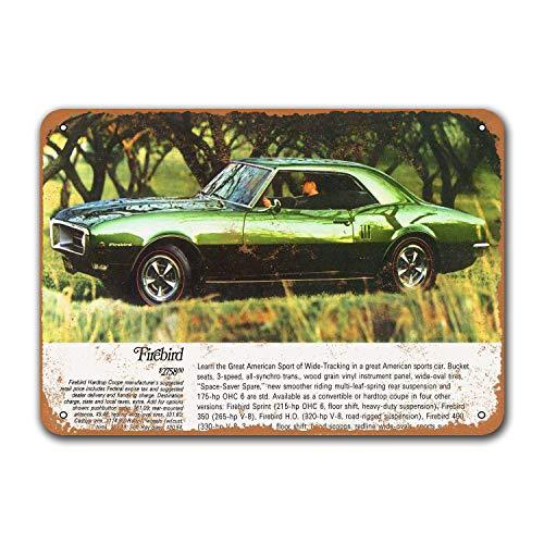 1968 Pontiac Firebird 400 винтажные автомобильные жестяные знаки, металлические таблички, постер для мужчин, Ретро Декор стен 12x8 дюймов