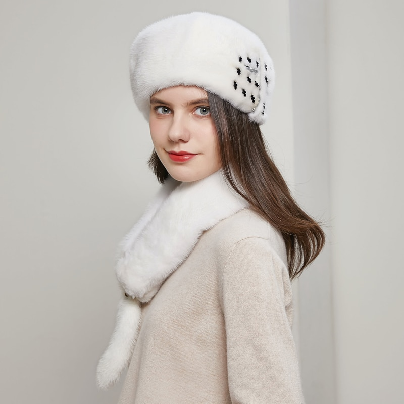Overall mink fur hats, ladies luxurious and fashionable, high-quality new caps, Russian winter ladies fur hats to keep warmDY-04