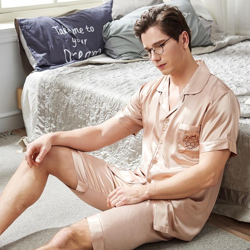 Пижамы мужские летние короткие рукав шорты из двух частей пижама комплекты лед шелк тонкие мужские пижамы домашняя одежда 1813