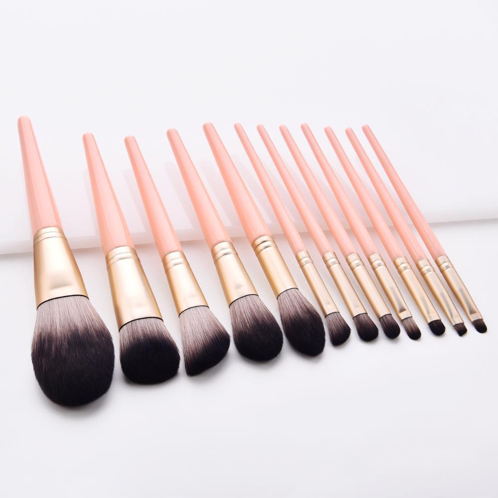 12 piezas, Juego de brochas de maquillaje naranja polvo suave profesional base...
