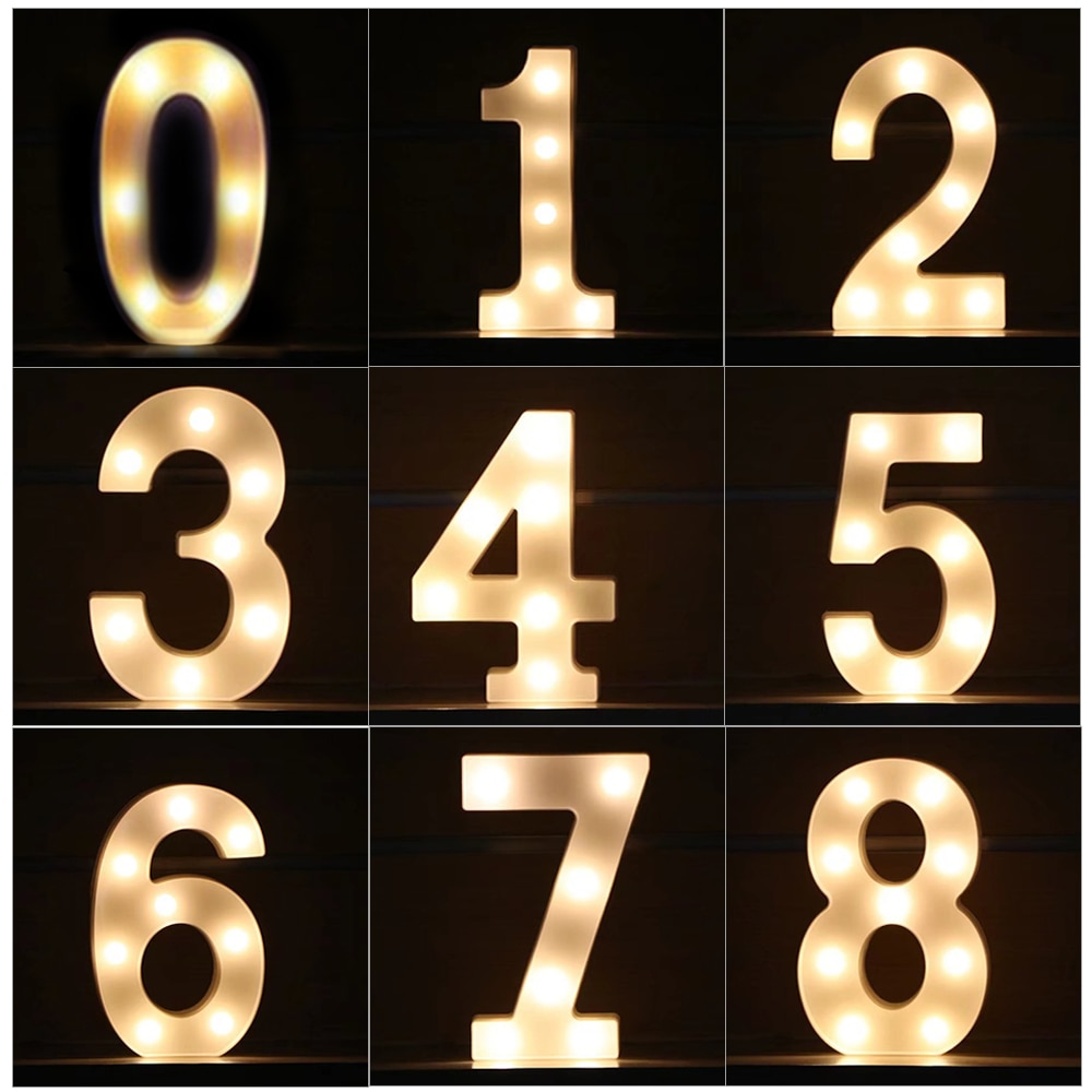 Creative Luminous 0-9 Digital Number Letter Light AA Battery Powered Lamp Night Light for Christmas Wedding Birthday Party Decor enlarge