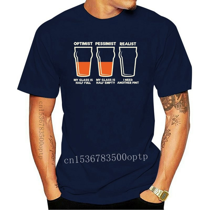 New Youth Customized T-Shirts Optimist Pessimist Realist MENS T-SHIRT tee birthday funny booze beer alcohol Tee Shirt