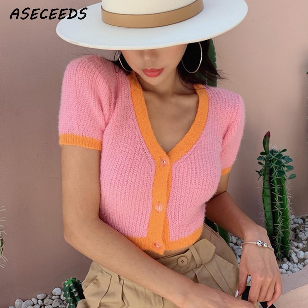 Fall 2019 kawaii pink cardigan womens yellow sweater korean crop sweater button sexy v neck sweater winter clothes women tops