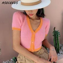 Automne 2019 kawaii rose cardigan femmes jaune pull coréen culture pull bouton sexy col en v pull hiver vêtements haut pour femme