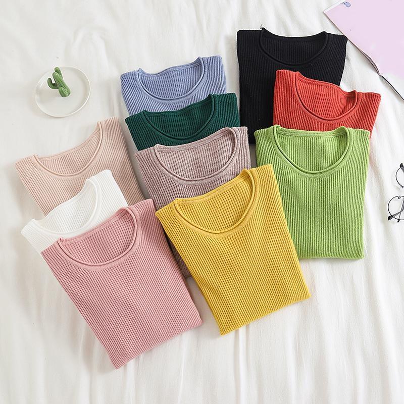 Suéteres de punto de invierno para Mujer y jerseys de manga larga de cuello redondo casuales sólidos Sueter lindo para Mujer suéter coreano Kawaii
