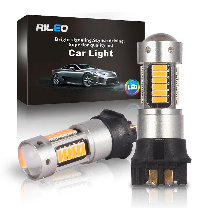 AILEO 2x Keine OBC Fehler Canbus Weiß LED PW24W PWY24W Lampen Für Audi BMW VW Blinker DRL Licht 6000k 3000k gelb 12V 600LM