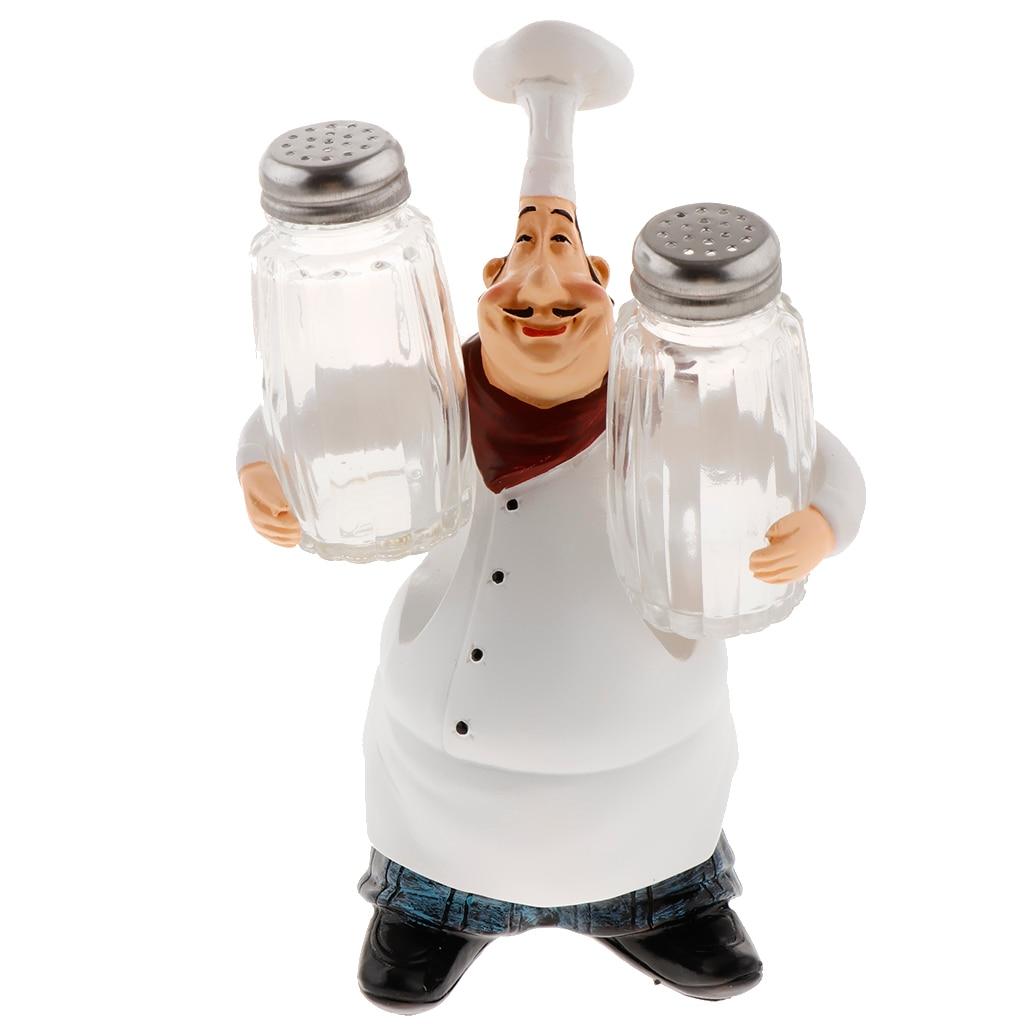 Italian Chef Figurine Restaurant Decor with Beer/Wine Opener /Toothpick/ Tray /Salt &Pepper Shaker Shape Resin Cook Statue