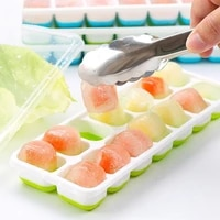 easy release silicone flexible 14 ice cream tools cube trays with spill resistant removable lid for cocktail freezer stackable
