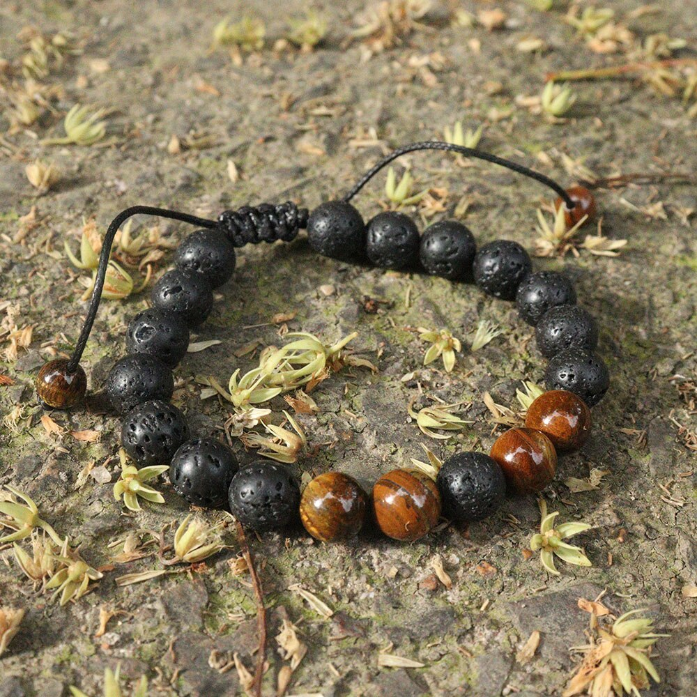 8mm Adjustable Lava Rock Bracelet Natural Stone Beads Bracelets with Braided Rope Stress Relief Yoga