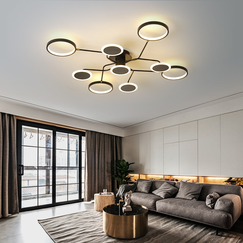 Современные светодиодные люстры в скандинавском стиле, потолочные светильники черного цвета с дистанционным управлением для гостиной, сто...