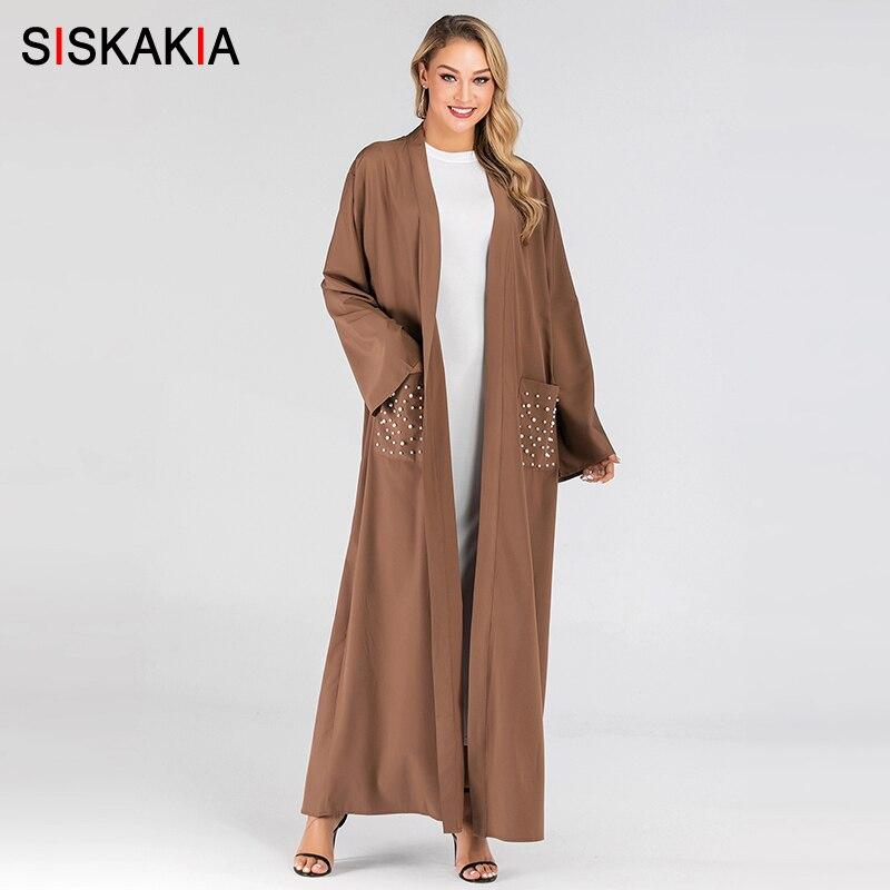 Siskakia musulmana moderna Abaya abierta de bolsillos parche puro trajes casuales con fajas árabe Dubai turco islámico-ropa-marrón