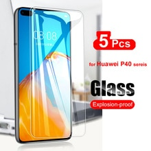 5Pcs Tempered Glass For Huawei P40 Lite Screen Protector Glass on For Huawei P40 Lite E P40 Premium