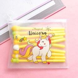 10 pçs canetas + 1 saco bonito cactus canetas kawaii unicórnio gel canetas para meninas presentes escola material de escritório coreano papelaria