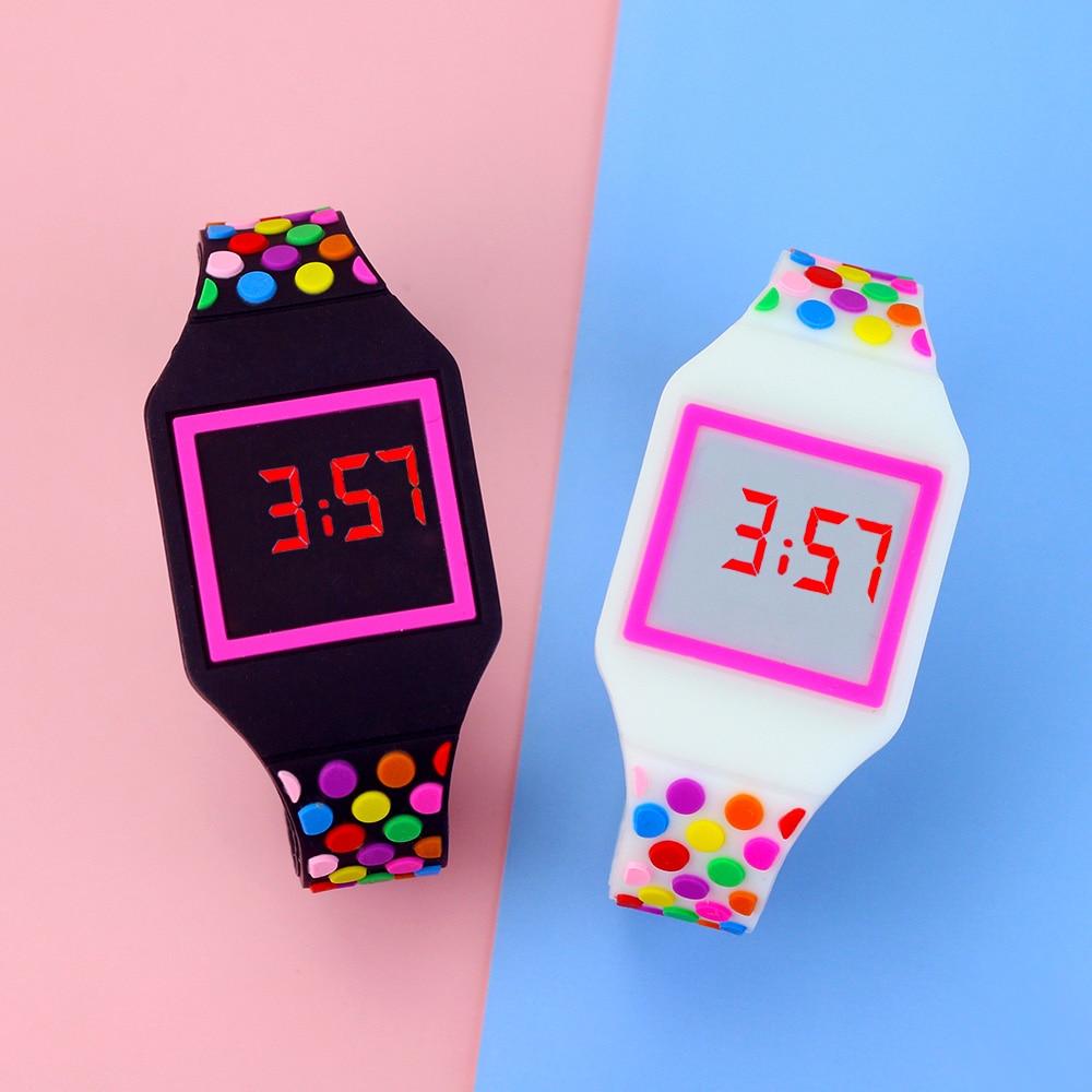 Новые светодиодные детские часы, детские спортивные электронные наручные часы, желеобразные цветные светодиодные цифровые часы для мальчи...