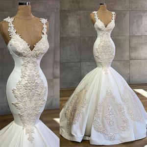 Luxury Mermaid Wedding Dress Beads Lace Apppliqued Robe De Mariee Custom Made Spaghetti Straps Beach Boho Bride Gowns