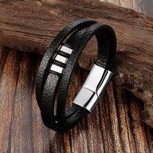 Titanium Steel Leather Rope Bracelet Stainless Steel Leather Braided Bracelets Leather Multi-Layer J