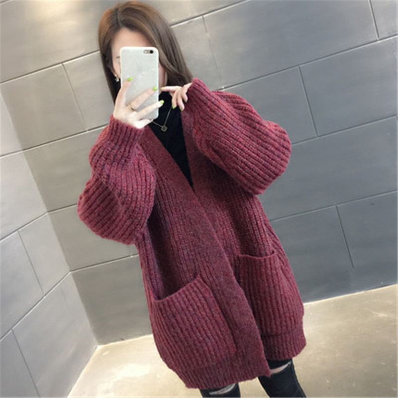 Casual camisola cardigan jaqueta feminina 2020 novo outono inverno longo tricô cardigan coreano solto preguiçoso vento grosso casaco feminino