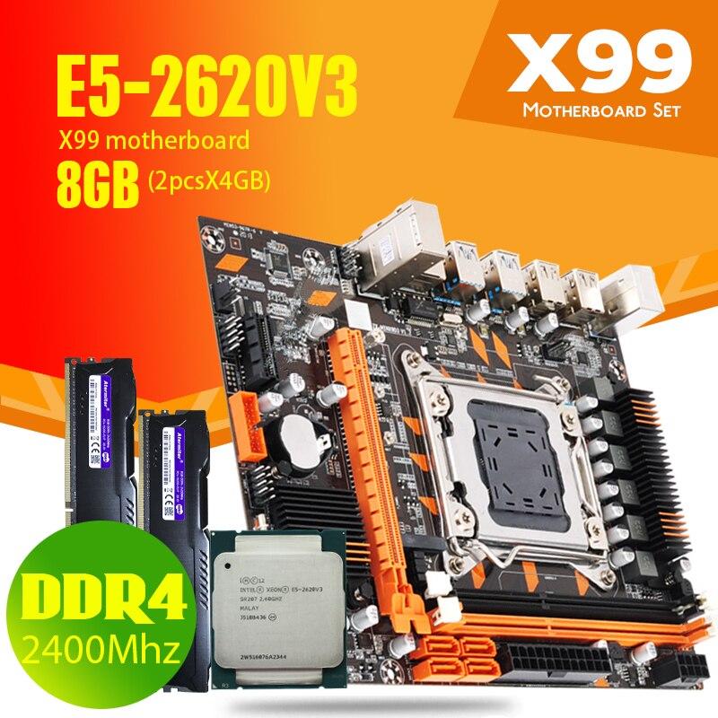 X99 DDR4 2DDR4 DIMM placa base de combos Xeon E5 2620 V3 LGA2011-3 CPU 2*4GB = 8GB PC4 RAM 2400MHz DDR4 escritorio memoria