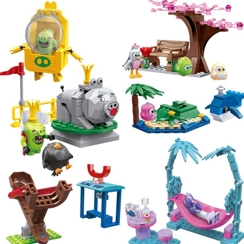 En Stock Cogo, bonito parque infantil con diseño de Isla de Pájaros, juego de bloques de construcción con diseño de rey cerdo, juguetes educativos para niños, regalos