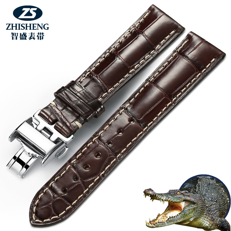 Handmade crocodile leather bamboo joints, famous craftsman magnificent and elegant royal leather strap for men and women 7-39 enlarge