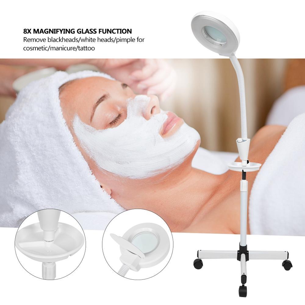 8 Times Magnifying Glass LED Shadowless Bracket lamp Nail Picking Acne Tattoos Beauty Salon Dental Hospital Household Floor Lamp